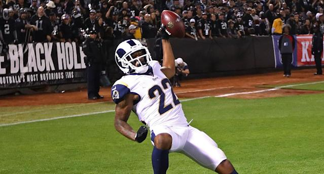 Rams cornerback Marcus Peters was fined $13,000 for his crotch-grabbing touchdown celebration against the Raiders. (AP)