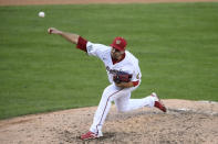 Washington Nationals relief pitcher Daniel Hudson delivers during the seventh inning of the first baseball game of a doubleheader against the Miami Marlins, Saturday, Aug. 22, 2020, in Washington. (AP Photo/Nick Wass)
