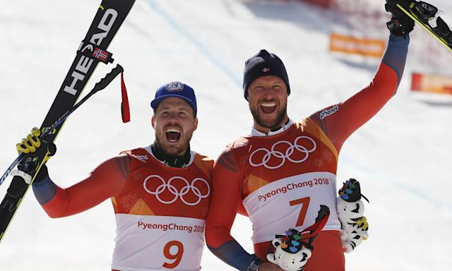 Men's downhill silver medal winner Kjetil Jansrud, left, with his compatriot Aksel Lund Svindal, who took gold.