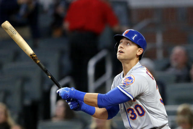 "<a class=""link rapid-noclick-resp"" href=""/mlb/teams/nym"" data-ylk=""slk:New York Mets"">New York Mets</a> outfielder <a class=""link rapid-noclick-resp"" href=""/mlb/players/9875/"" data-ylk=""slk:Michael Conforto"">Michael Conforto</a> is a line drive hitter who seems to have fallen in the homer trap. (AP Photo/John Bazemore)"
