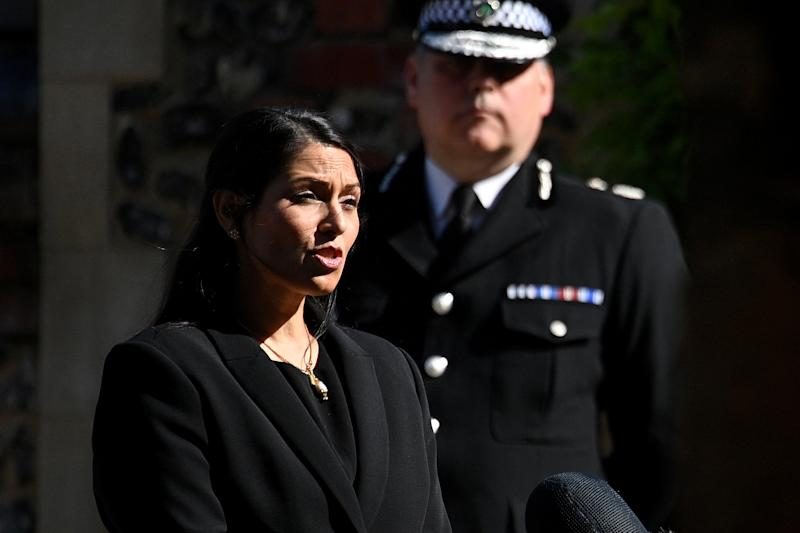 READING, ENGLAND - JUNE 22: Home Secretary, Priti Patel makes a statement to the media at Forbury Gardens on June 22, 2020 in Reading, England. Khairi Saadallah, a 25-year-old refugee from Libya, was arrested on Saturday evening suspected of stabbing three people to death in Forbury Gardens in the centre of Reading. Another three people are in a serious condition in hospital. One victim has been named as 36-year-old teacher, James Furlong. Police are treating the incident as terror-related. (Photo by Leon Neal/Getty Images)