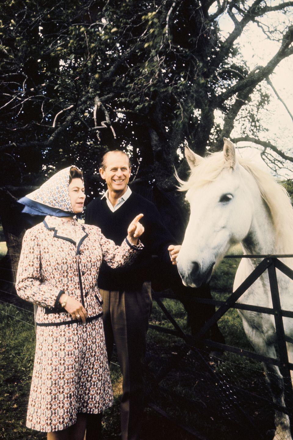 <p>Queen Elizabeth and Prince Philip take a walk and interact with a horse on their grounds. </p>