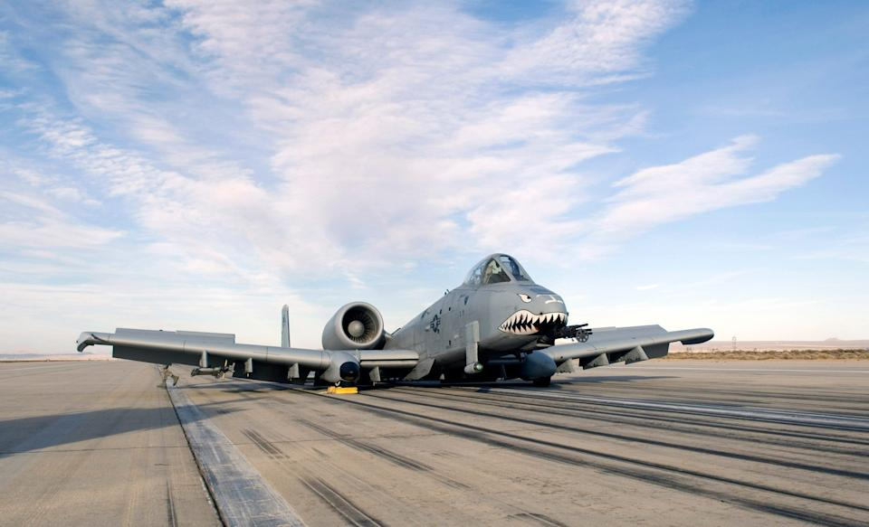 An A-10 sits on the runway after making an emergency landing March 25 at Edwards Air Force Base, Calif