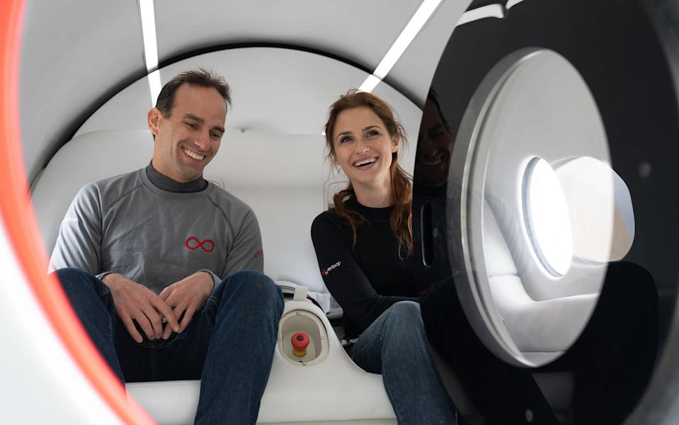 Chief technology officer Josh Giegel and director of passenger experience Sara Luchian were its first human passengers (Virgin)