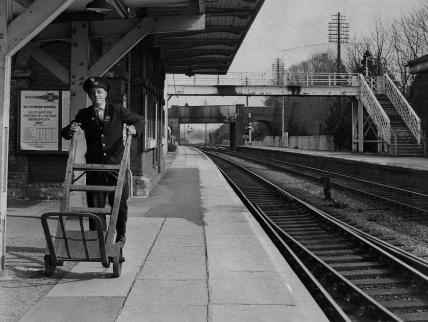 "<p class=""item-overlay_description"">Porter John Sugg at Aldermaston Station the day after the Beeching Reportwas revealed. </p>"