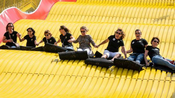 PHOTO: A group of ladies ride the Giant Slide together during the first day of the Minnesota State Fair in Falcon Heights, Minn., Aug. 22, 2019. (Star Tribune via Getty Images, FILE)