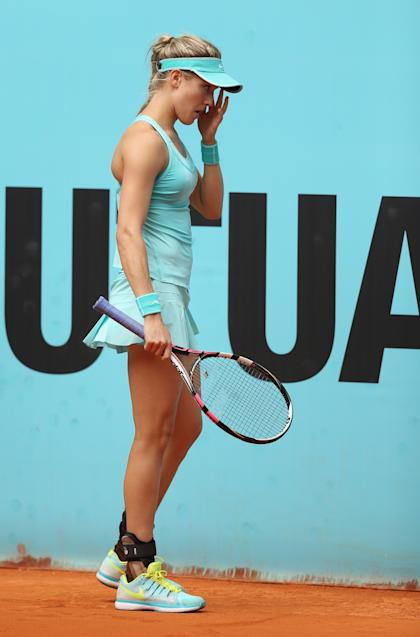 Bouchard has a moment against Barbora Strycova in Madrid Sunday. (Photo by Clive Brunskill/Getty Images)