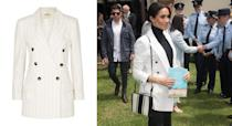 """<p>For a reception hosted by the Prime Minister of Australia at The Pavilion Restaurant later the following day, Meghan dressed in a turtleneck, her go-to Mother Denim jeans and a £510 blazer by L'Agence. Surprisingly, the pinstriped number is still available online. What are you waiting for? <a rel=""""nofollow noopener"""" href=""""https://www.net-a-porter.com/gb/en/product/1059727?cm_mmc=LinkshareUK-_-QFGLnEolOWg-_-Custom-_-LinkBuilder&siteID=QFGLnEolOWg-LXDVVPrcyFLRN_f3XYPUTA&rewardStyle=rewardStyle&dclid=CLy-z-PKmd4CFRLW7QodG_oAMQ"""" target=""""_blank"""" data-ylk=""""slk:Shop now"""" class=""""link rapid-noclick-resp""""><strong>Shop now</strong></a>. <em>[Photo: Getty]</em> </p>"""