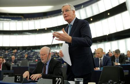 European Union's chief Brexit negotiator Michel Barnier delivers a speech during a debate on BREXIT after the vote on british Prime Minister Theresa May's Brexit deal, at the European Parliament in Strasbourg, France, January 16, 2019. Left is European Commission first Vice-President Frans Timmermans. REUTERS/Vincent Kessler