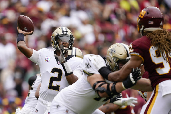 New Orleans Saints quarterback Jameis Winston completed a long touchdown as the first half expired. (AP Photo/Alex Brandon)