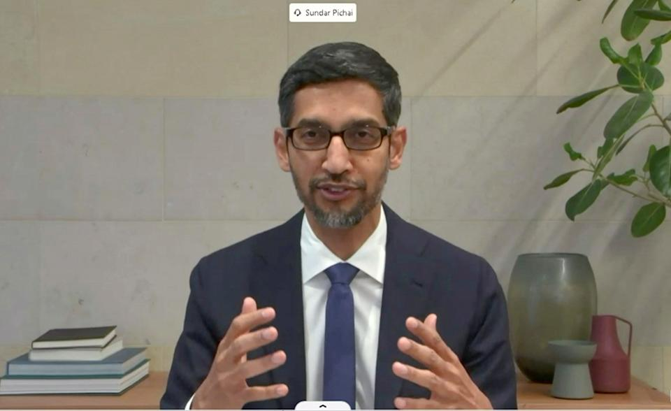 """Sundar Pichai, CEO of Google's Alphabet Inc., is seen as he testifies remotely during a Senate Commerce, Science and Transportation hearing to discuss """"reforming Section 230 of the Communications Decency Act,"""" which protects internet companies, on Capitol Hill in Washington, U.S., October 28, 2020.  U.S. Senate Committee on Commerce, Science and Transportation/Handout via REUTERS"""