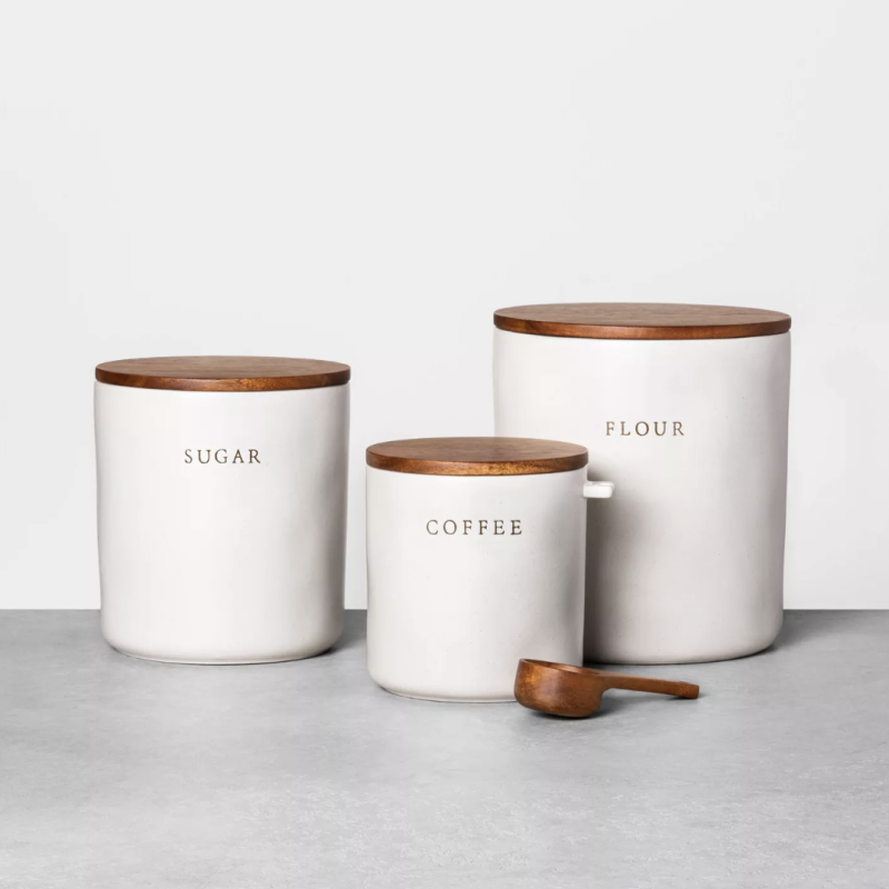 Flour Stoneware Canister with Wood Lid (Credit: Target)