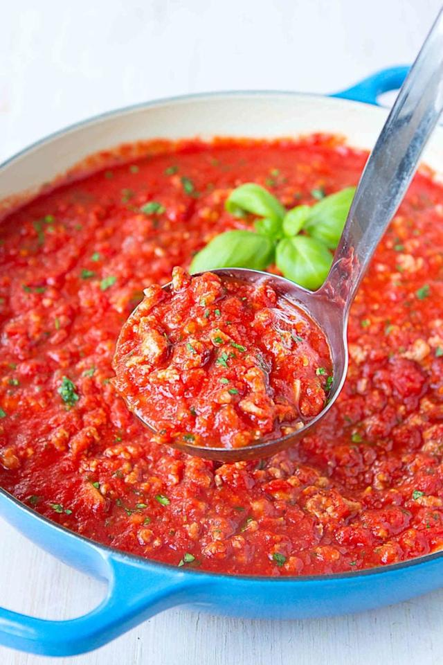 """<p>Whip up a big batch of this <a href=""""https://www.cookincanuck.com/bolognese-sauce-recipe-turkey-chicken/"""" target=""""_blank"""" class=""""ga-track"""" data-ga-category=""""Related"""" data-ga-label=""""https://www.cookincanuck.com/bolognese-sauce-recipe-turkey-chicken/"""" data-ga-action=""""In-Line Links"""">Turkey and Chicken Sausage Bolognese Sauce</a> and freeze it in single-serve containers so that all your new parent friends have to do is make a batch of fresh pasta to pour it over when they're in need of a quick meal.</p>"""