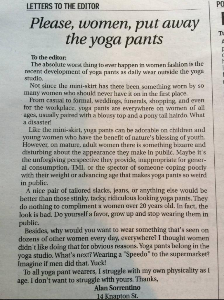 9215864725d66 View photos. A Rhode Island resident expressed his distaste for grown women  wearing yoga pants in public ...