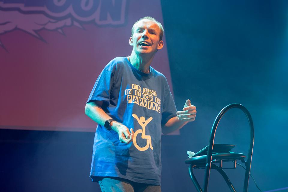Lee Ridley aka Lost Voice Guy performs on stage during Gilded Balloon 2018 Press Party, as part of the annual Edinburgh Fringe Festival, at Teviot Row House on August 2, 2018 in Edinburgh, Scotland.  (Photo by Roberto Ricciuti/Getty Images)