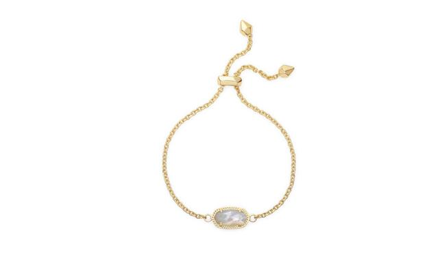 "<p>Elaina adjustable chain bracelet in ivory pearl, $50, <a href=""https://www.kendrascott.com/gift-guide/to-give/gifts-%2450-and-under/elaina-gld.html?cgid=gifts-50-and-under&dwvar_elaina-gld_stoneColor=217#start=10"" rel=""nofollow noopener"" target=""_blank"" data-ylk=""slk:kendrascott.com"" class=""link rapid-noclick-resp"">kendrascott.com</a> </p>"