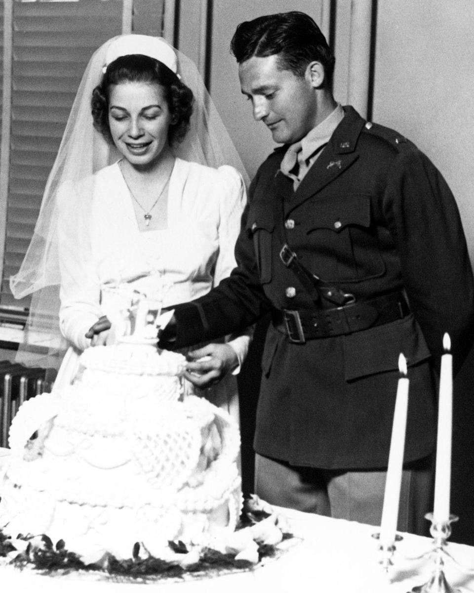 <p>Walmart founder Sam Walton and his wife Helen, on their wedding day, February 14, 1943. At the time, Sam was a management trainee with the J.C. Penney Company.</p><p>Photo: Courtesy of Walmart</p>