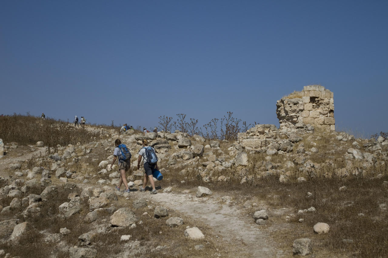 In this photo taken Wednesday, July 6, 2011, volunteers and archeologists walk up a hill at the excavation site in Tel el-Safi, southern Israel. At the remains of an ancient metropolis in southern Israel, archaeologists are piecing together the history of a people remembered chiefly as the bad guys of the Hebrew Bible. The city of Gath, where this year's digging season began this week, is helping scholars paint a more nuanced portrait of the Philistines, who appear in the biblical story as the perennial enemies of the Israelites. (AP Photo/Ariel Schalit)