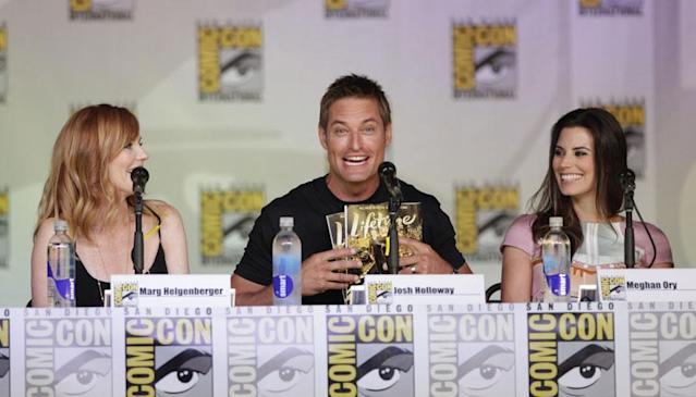 "Marg Helgenberger, Josh Holloway, and Meghan Ory onstage at the ""Intelligence"" panel during Comic-Con International 2013 at San Diego Convention Center on July 18, 2013 in San Diego, California."