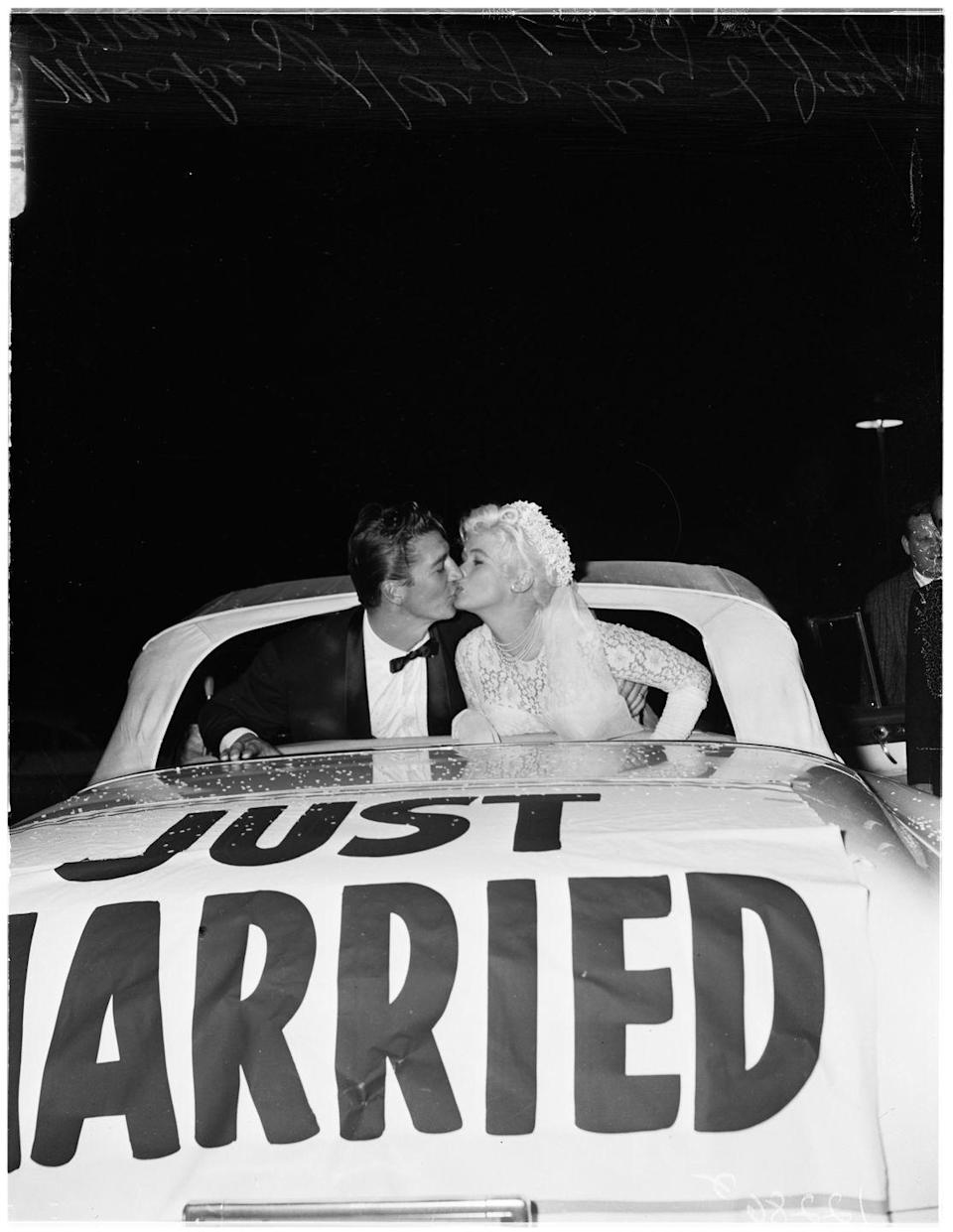 <p>On January 13, 1958, Mansfield wed her second husband, Mickey Hargitay, in a press-filled ceremony at the Wayfarers Chapel in Rancho Palos Verdes, California. </p>