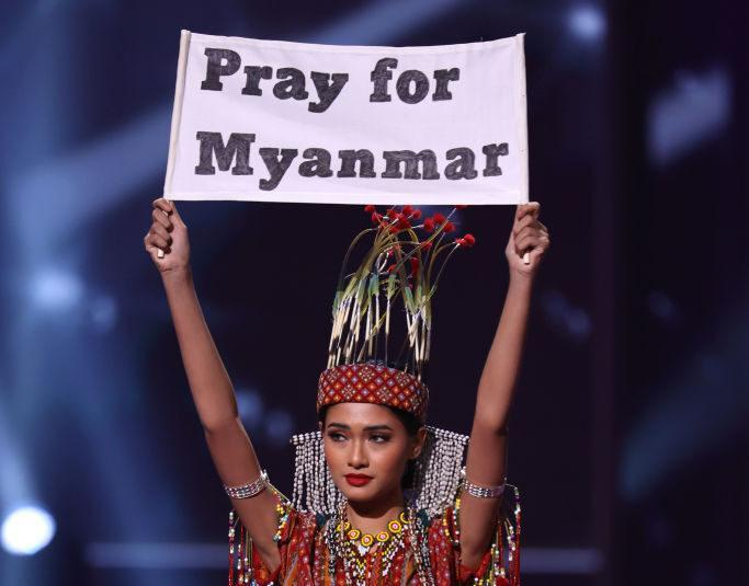 HOLLYWOOD, FLORIDA - MAY 13: Miss Myanmar Thuzar Wint Lwin appears onstage at the Miss Universe 2021 - National Costume Show at Seminole Hard Rock Hotel & Casino on May 13, 2021 in Hollywood, Florida. (Photo by Rodrigo Varela/Getty Images)