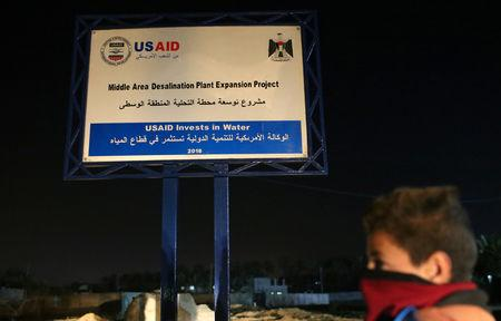 A sign of a USAID project is seen in the central Gaza Strip  January 31, 2019. Picture taken January 31, 2019. REUTERS/Ibraheem Abu Mustafa