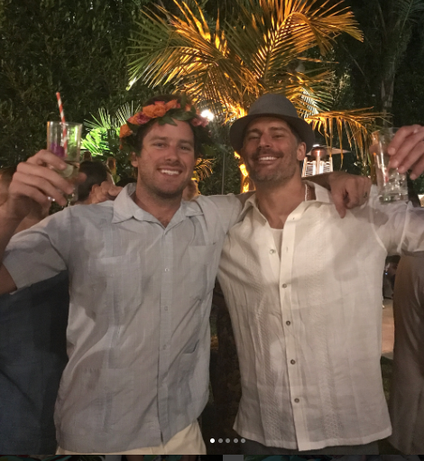 "<p>Cheers! Joe <span>Manganiello</span> and Armie Hammer struck a pose with drinks in hand and hats on head. (Photo: <a href=""https://www.instagram.com/p/BUsAFlcFBrk/"" rel=""nofollow noopener"" target=""_blank"" data-ylk=""slk:Sofia Vergara via Instagram"" class=""link rapid-noclick-resp"">Sofia Vergara via Instagram</a>) </p>"