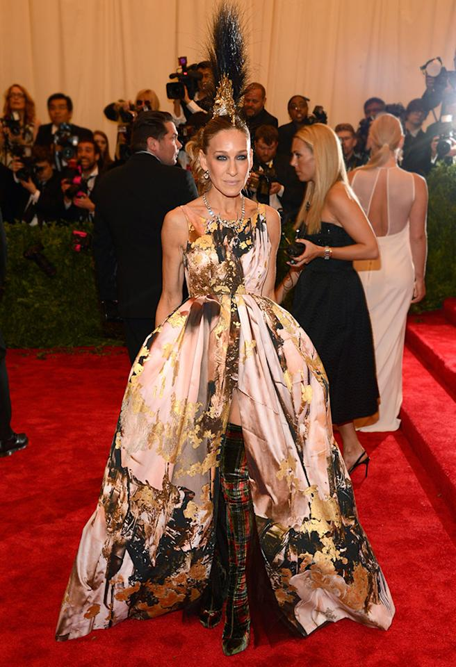 Sarah Jessica Parker never disappoints on the Met's big night, and this year was no exception. The actress sported a crazy Mohawk-like Philip Treacy headpiece and an elaborate Giles Deacon printed dress, which parted at her feet to reveal custom Christian Louboutin tartan boots. Carrie Bradshaw would be proud.