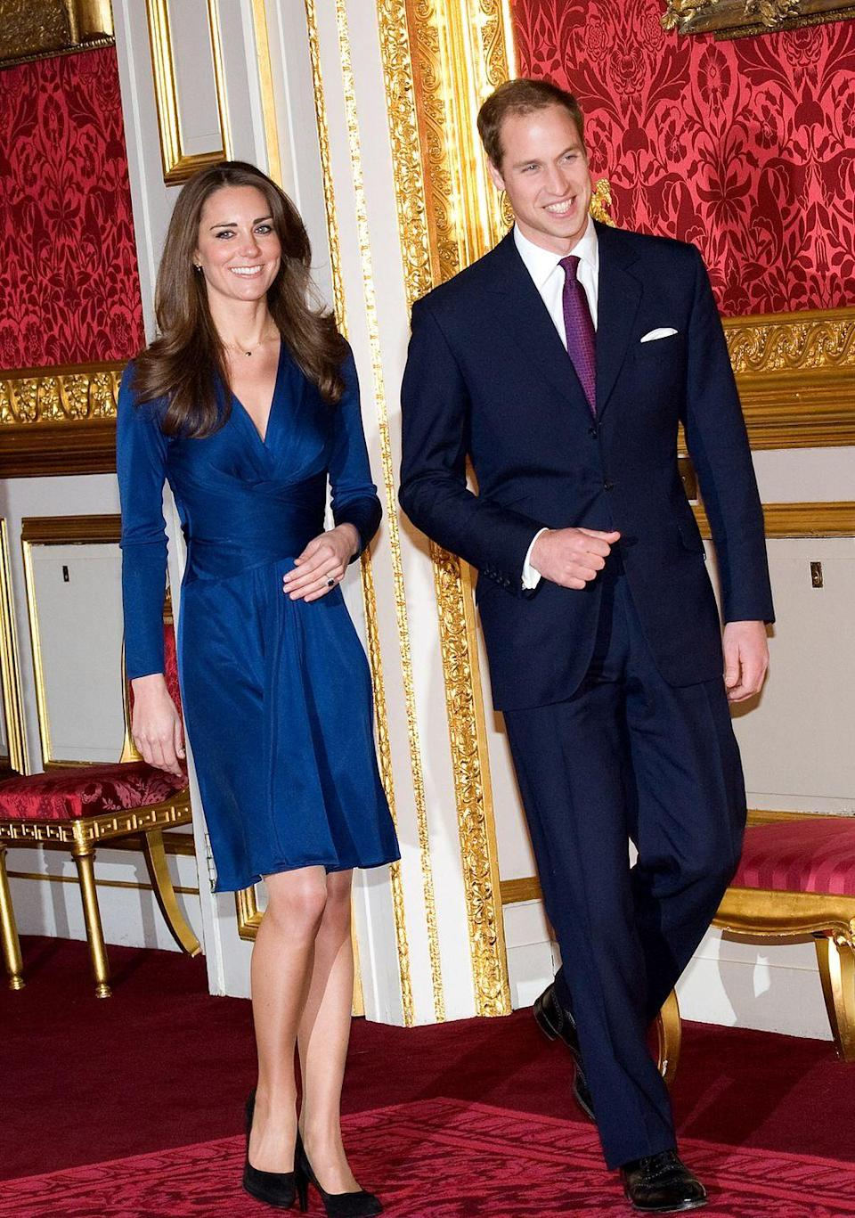 <p>You've definitely seen this look before—it's the same one Kate wore to announce her engagement to Prince William back in 2010. </p>