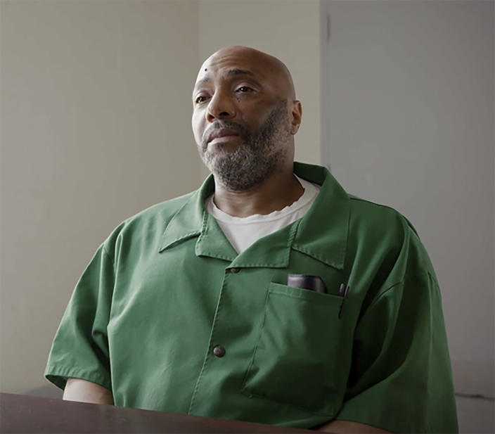 This Aug. 17, 2018, photo provided by Justice 360 shows death row inmate Richard Moore at Kirkland Reception and Evaluation Center in Columbia, S.C. Moore was sentenced to death in the 1999 fatal shooting of James Mahoney, a convenience store clerk in Spartanburg County, S.C. ( Blossom Street Films/Justice 360 via AP)