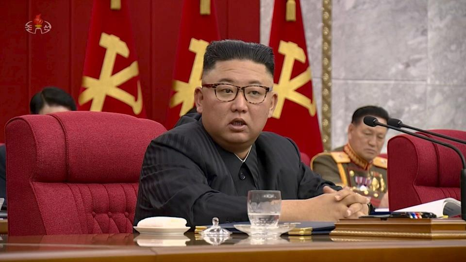 North Korean leader Kim Jong-un speaks at a meeting of the Workers' Party of Korea earlier this month (REUTERS)