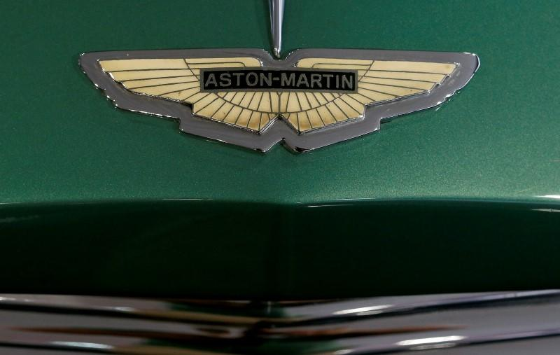 The logo of British manufacturer Aston Martin is seen in Zurich