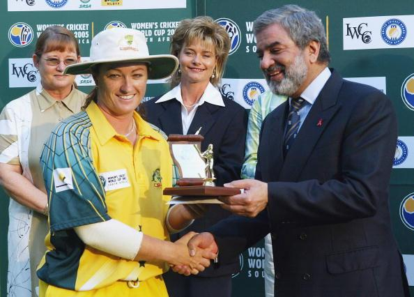 PRETORIA, SOUTH AFRICA - APRIL 10: (TOUCHLINE IMAGES ARE AVAILABLE TO CLIENTS IN THE UK, USA AND AUSTRALIA ONLY)  Karen Rolton of Australia is presented with the Player of the World Cup Award from ICC President Ehsan Mani  during the IWCC Women's World Cup Final match between India and Australia at Supersport Park Stadium on April 10, 2005 in Pretoria, South Africa. (Photo by Touchline/Getty Images)
