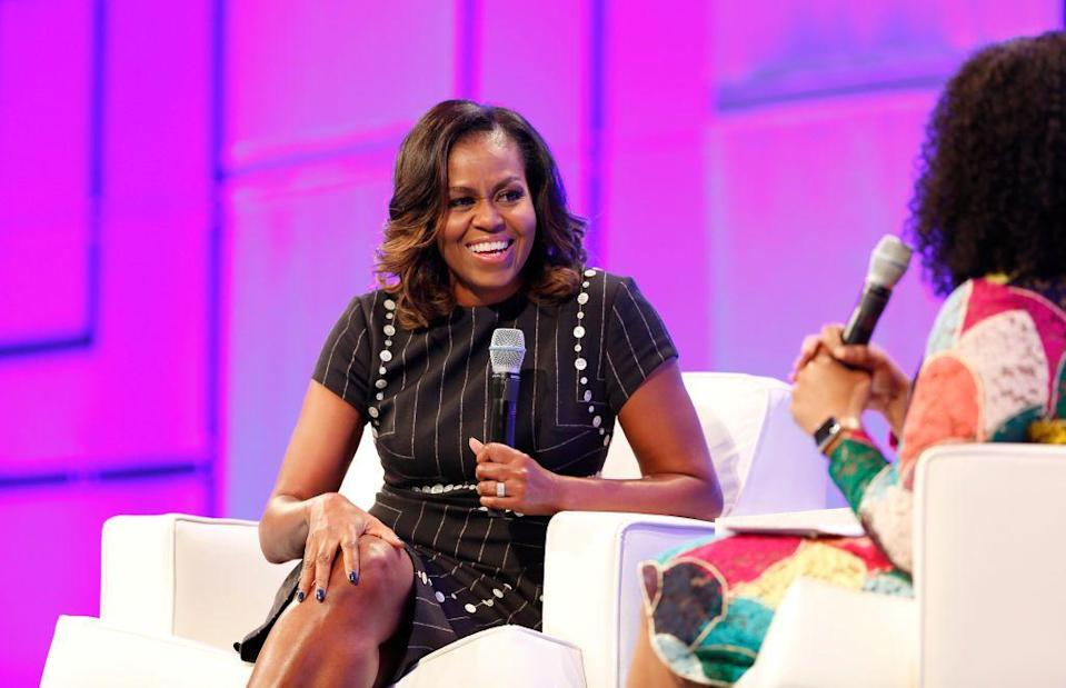 """<p>Famous for her love of fitness and nutrition—and those toned arms!—Obama says she uses exercise to relieve stress. According to <a href=""""https://www.vogue.com/article/michelle-obama-best-quotes-health-fitness"""" rel=""""nofollow noopener"""" target=""""_blank"""" data-ylk=""""slk:Vogue"""" class=""""link rapid-noclick-resp""""><em>Vogue</em></a>, in a 2008 interview she said, """"Exercise is really important to me—it's therapeutic.""""</p>"""