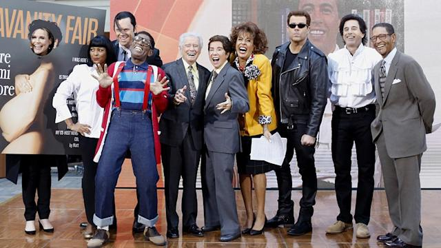 <p>Group shot! Roker may be recovering from knee surgery, but that didn't stop him from going full Steve Urkel — suspenders, snorts, and all. And Daly obviously wasn't content with playing the younger <i>TRL</i> version of himself, so he had to ride onto Rockefeller Plaza on a motorcycle and make his debut as <i>The Terminator</i>. (Photo: Nate Congleton/NBC) </p>