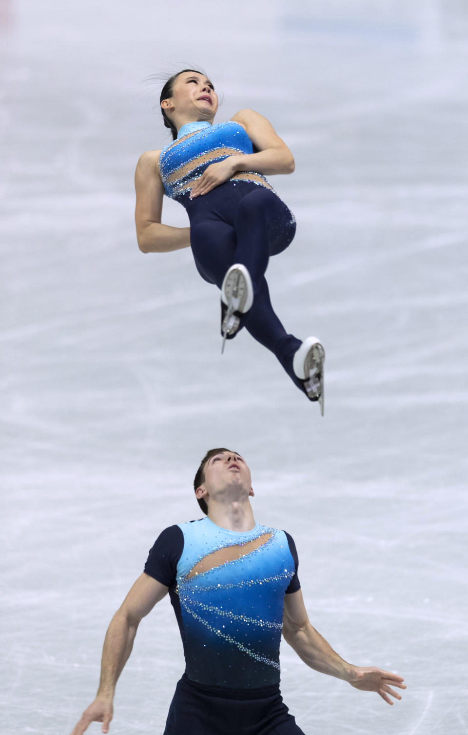 Canada's Lori-Ann Matte and Thierry Ferland perform during the pairs short program of the ISU World Team Trophy figure skating competition in Osaka, western Japan, Friday, April 16, 2021. (AP Photo/Hiro Komae)