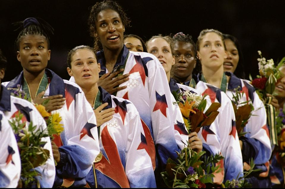 4 Aug 1996:  Lisa Leslie of the USA stands as the Anthem is played after winning the Women''s basketball Finals during the 1996 Olympic Games in the Georgia Dome in Atlanta, Georgia. The USA Women''s Team defeated the Brazilian Women''s Team 111-87. Mandatory Credit: Rick Stewart  /Allsport