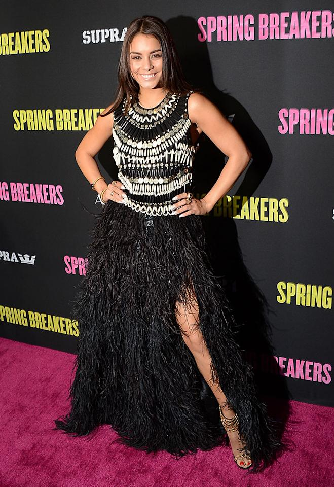 "Vanessa Hudgens attends the ""Spring Breakers"" premiere at ArcLight Cinemas on March 14, 2013 in Hollywood, California."