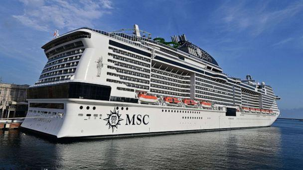 PHOTO: A picture taken in the northern Italian port of Genoa on Aug. 16, 2020, shows the MSC Grandiosa cruise liner leaving the port pulled by a little boat after six-and-half months of inactivity due to the COVID-19 pandemic. (Miguel Medina/AFP via Getty Images, FILE)