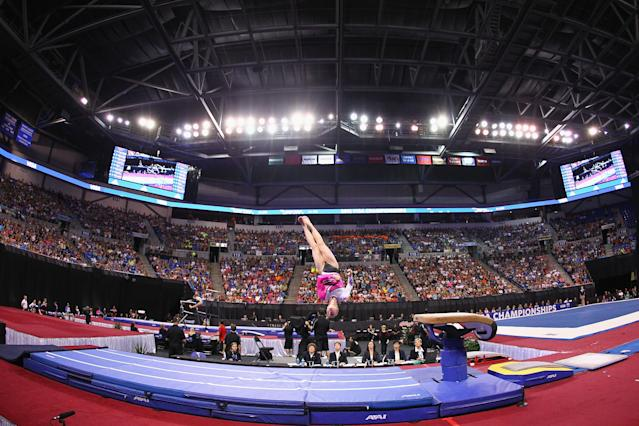 ST. LOUIS, MO - JUNE 10: Brenna Dowell competes on the vault during the Senior Women's competition on day four of the Visa Championships at Chaifetz Arena on June 10, 2012 in St. Louis, Missouri. (Photo by Dilip Vishwanat/Getty Images)