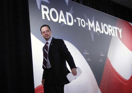"""Republican National Committee Chairman Priebus leaves the stage after addressing the Faith and Freedom Coalition """"Road to Majority"""" conference in Washington"""