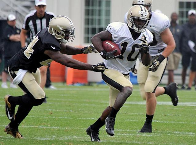 New Orleans Saints wide receiver Brandin Cooks (10) during their NFL football training camp in White Sulphur Springs, W.Va., Saturday, Aug. 2, 2014. (AP Photo/Chris Tilley)