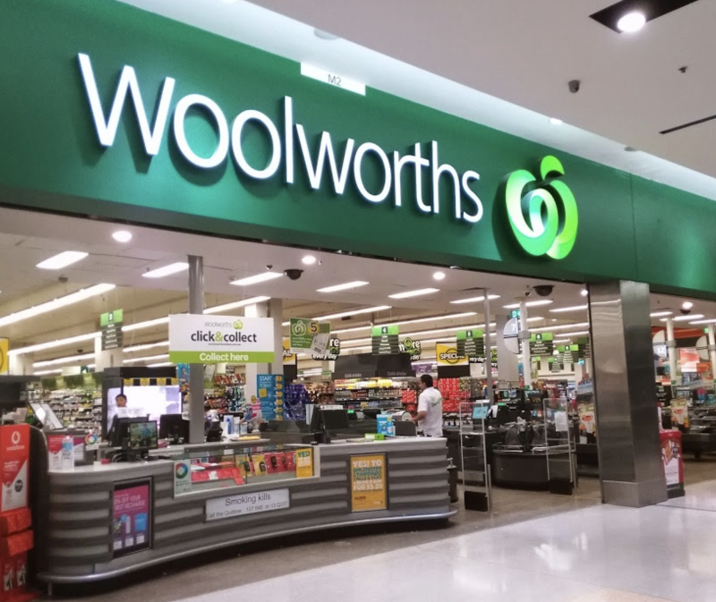 Photo shows the front of a Woolworths store in Sydney.