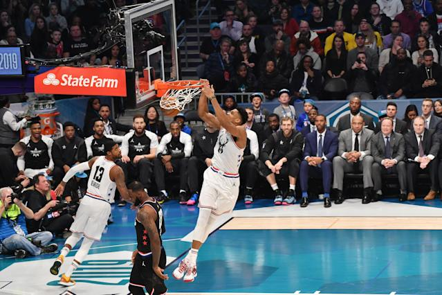 Giannis Antetokounmpo throws one down during the All-Star Game. (Getty Images)