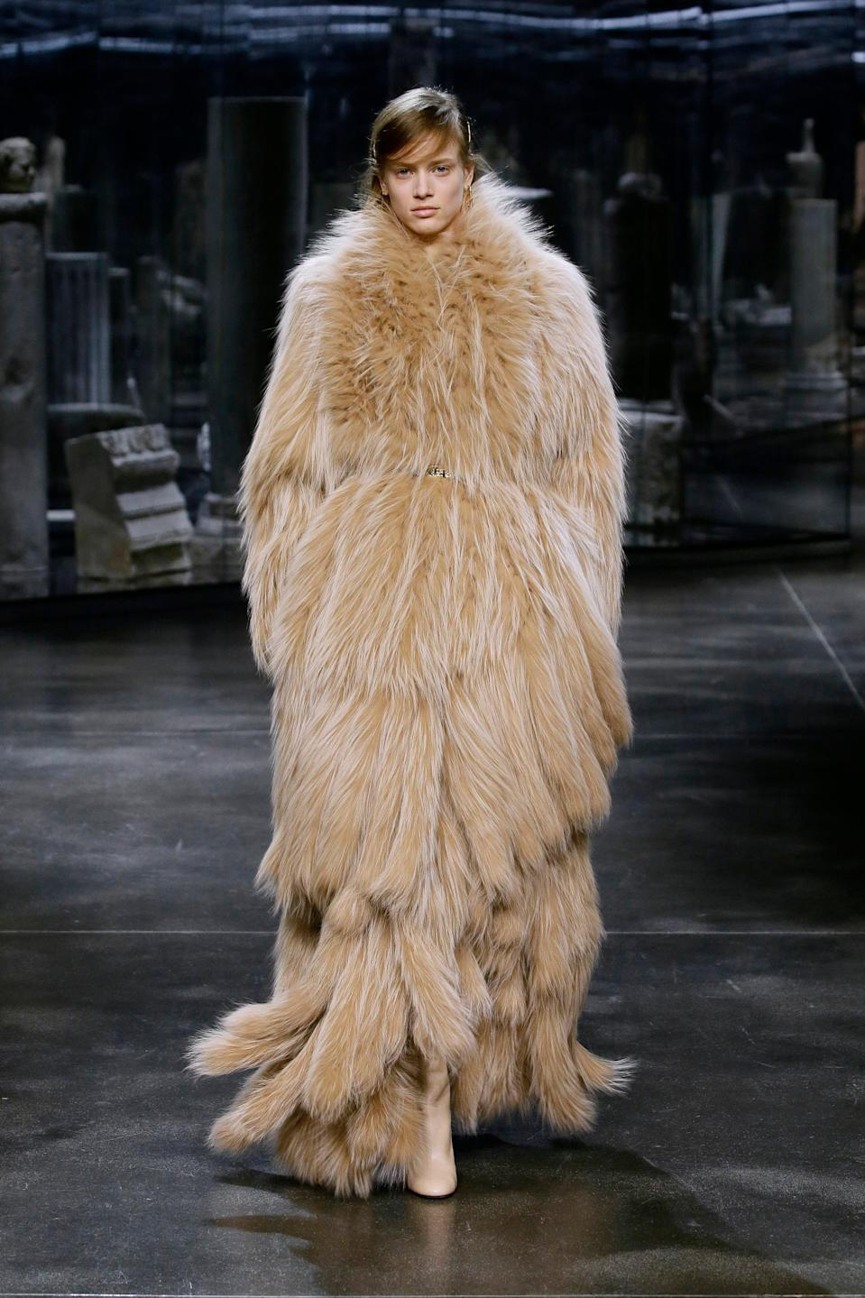 """<h2>Fuzzy Fashion</h2><br>From fur-lined capes at Prada to fuzzy, fringed coats at Fendi, fashion's getting a cozy touch for fall '21 with clothes you'll want to nuzzle up to.<br><br><em>Fendi</em><span class=""""copyright"""">Photo: Courtesy of Fendi.</span>"""