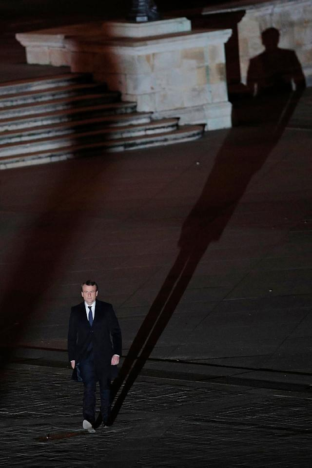 <p>Incoming French President Emmanuel Macron walks towards the stage to address his supporters at the Louvre Palace in Paris, Sunday May 7, 2017. Polling agencies have projected that centrist Macron will be France's next president, putting a 39-year-old political novice at the helm of one of the world's biggest economies and slowing a global populist wave. (Christophe Ena, Pool via AP) </p>