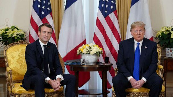 PHOTO: France's President Emmanuel Macron and President Donald Trump meet, ahead of the NATO summit in Watford, in London, Dec. 3, 2019. (Kevin Lamarque/Reuters)