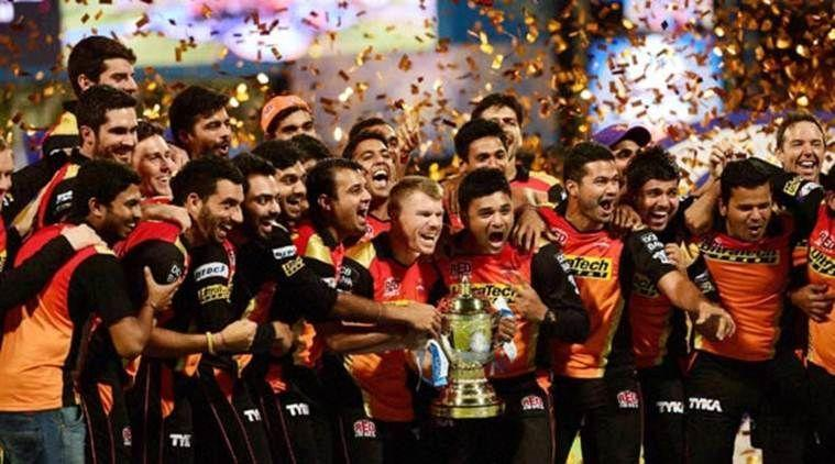 SRH celebrate their 2016 IPL triumph