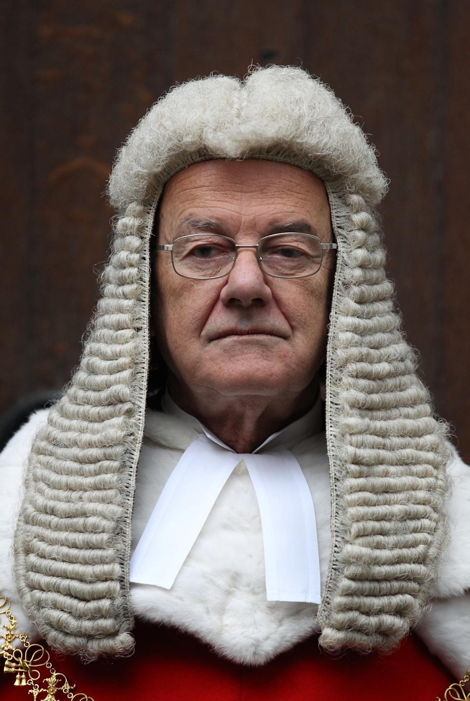 Lord Chief Justice Lord Judge, following the swearing in of the new Lord Chancellor MP Chris Grayling and Master of the Rolls, Lord Dyson, at The Royal Courts of Justice,The Strand, London.   (Photo by Lewis Whyld/PA Images via Getty Images)