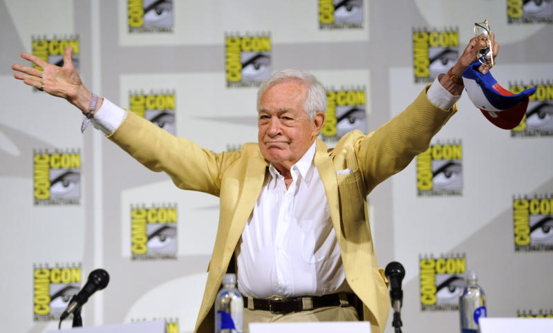"Jack Larson, who played Jimmy Olsen in the 1950's TV series, ""The Adventures of Superman, attends the ""Superman"" 75th Anniversary panel on Day 4 of the Comic-Con International on Saturday, July 20, 2013 in San Diego. (Photo by Chris Pizzello/Invision/AP)"